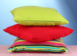 pillows on blue background