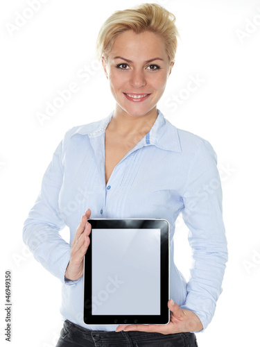 Business woman showing her tablet pc with copyspace