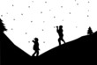 Kids in a snowball fight in winter in mountain silhouette