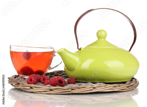 tea with raspberries isolated on white