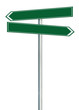 Right left road route direction pointers this way signs, green