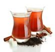 glasses of Turkish tea, isolated on white