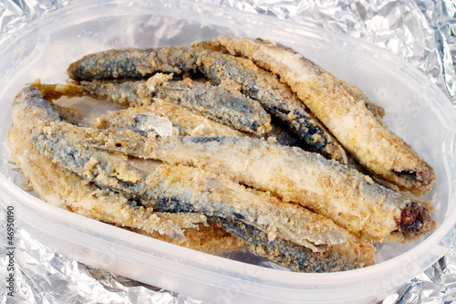 Roasted and breaded vendace fish