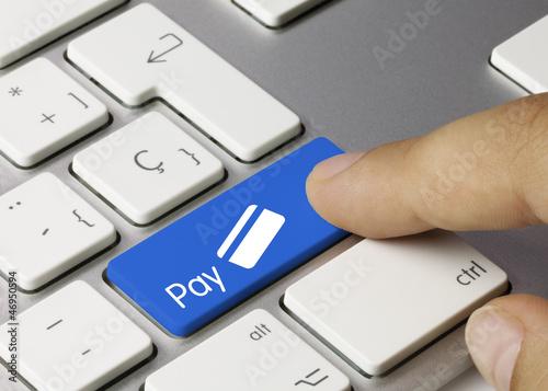 Pay credit card keyboard. Finger
