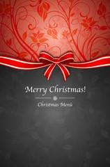 Menù Natale rosso nero con fiocco