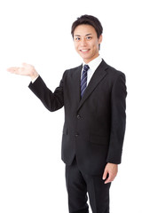 businessman that shows direction by hand
