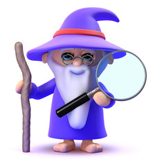 Wizard with magnifying glass helps searches