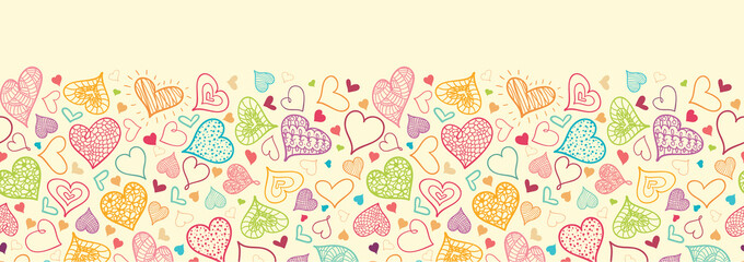 Vector Doodle Hearts Horizontal Seamless Pattern Background