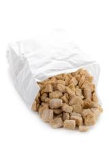 demerara sugar cubes on white