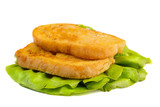 Bred with egs fried and served on salad leaves poster