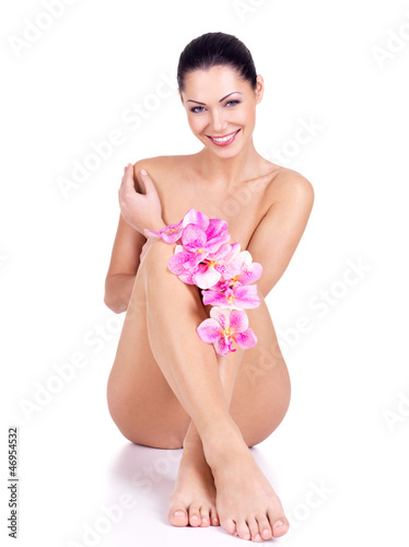 Beautiful smiling naked woman