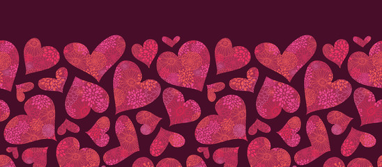 Vector Textured Red Hearts Horizontal Seamless Pattern