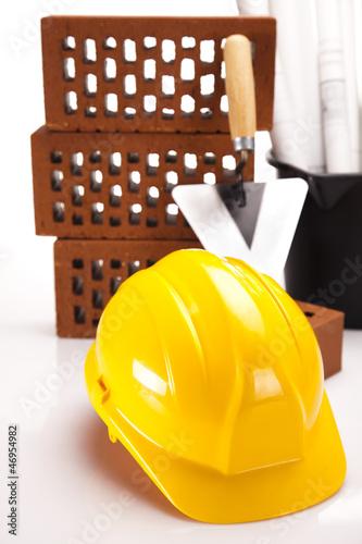 Building house, trowel