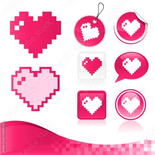 Deurstickers Pixel Pixel Heart Design Kit