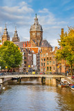 Fototapety Canal and St. Nicolas Church in Amsterdam
