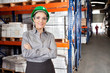 Female Supervisor Wearing Protective Eyeglasses At Warehouse