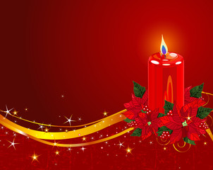 Christmas Candle with Poinsettia