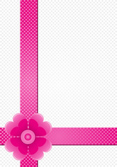 gray background with pink stripes and a flower