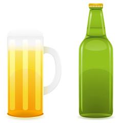 beer bottle and glass illustration