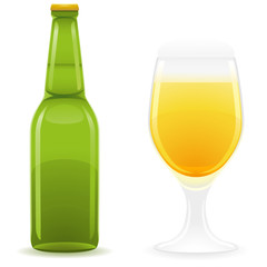 beer bottle and glass illustration
