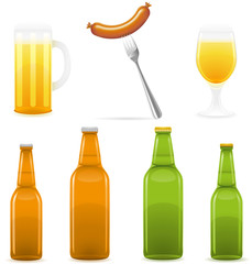beer bottle glass and sausage illustration