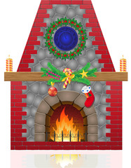 fireplace with christmas decorations illustration
