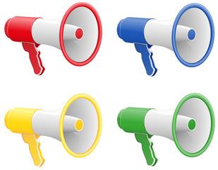colored megaphones illustration