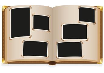 old open photo album with blank photos illustration