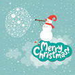 Christmas card, Snowman play on a horn
