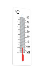 Thermometer indicates extremely low temperature. Vector illustra