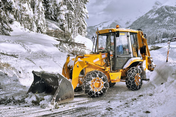 clearing roads of snow and fallen tree