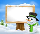 Fototapety Christmas Snowman Sign