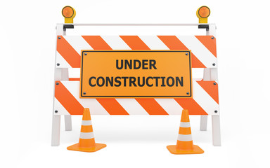 Under Construction traffic barricade