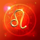 Zodiac Leo golden sign