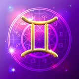Zodiac Gemini golden sign