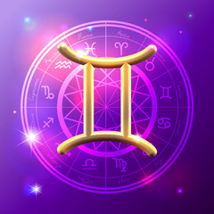 Zodiac Gemini golden sign