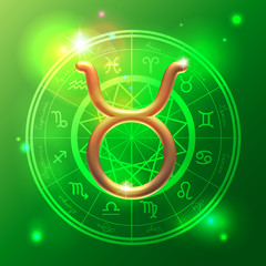 Zodiac Taurus golden sign