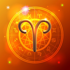Zodiac Aries golden sign