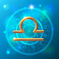 Zodiac Libra golden sign