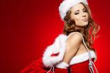 Fototapety beautiful sexy girl wearing santa claus clothes