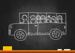Drawing of school bus on blackboard
