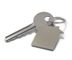 key and metal keyring with room for text over white