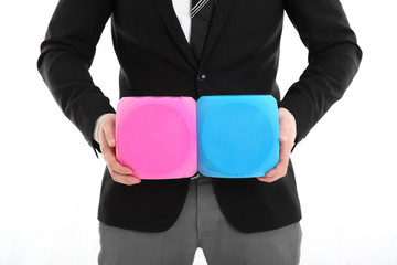 Businessman with two large dices
