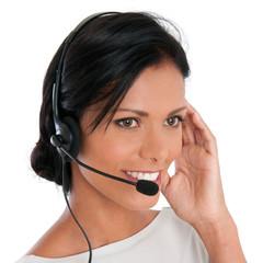 Happy call center woman