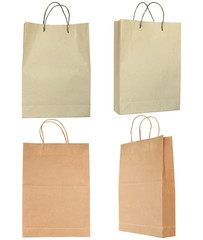 Brown paper bag set isolated on white with clipping path