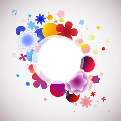 abstract colored background with flowers and bubbles