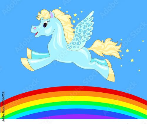 Spoed canvasdoek 2cm dik Pony flying horse over the rainbow