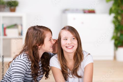 zwei freundinnen flüstern