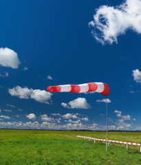 windsock on the dark blue sky