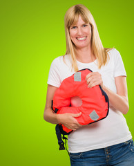Woman Holding Life Jacket